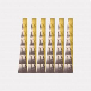 pièce unique - 50 x 50 cm tirage Lambda peint à la main - réimpressions de photographie ancienne, peinture vitrail, collage sur papier Canson paper, contrecollage sur Dibond, encadrement noir